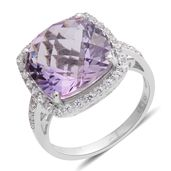 Amethyst, Lab Created White Sapphire Sterling Silver Checkerboard Halo Ring (Size 7.0) TGW 7.76 cts.