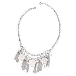 White Crystal Quartz, Chroma, Austrian Crystal Silvertone Bib Necklace (20 in) TGW 210.00 cts.