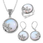 Opalite Black Oxidized Stainless Steel Lever Back Earrings, Ring (Size 8) and Pendant With Chain (20 in) TGW 85.00 cts.