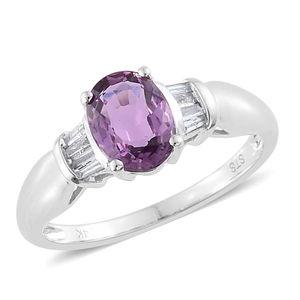 14K WG Mauve Sapphire, Diamond Ring (Size 8.0) TDiaWt 0.09 cts, TGW 1.49 cts.
