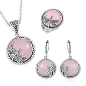 Galilea Rose Quartz Black Oxidized Stainless Steel Lever Back Earrings, Ring (Size 6) and Pendant With Chain (20 in) TGW 85.00 cts.
