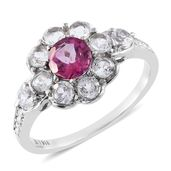 Pure Pink Mystic Topaz, White Topaz Stainless Steel Flower Ring (Size 9.0) TGW 2.70 cts.