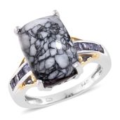 Austrian Pinolith, Catalina Iolite 14K YG and Platinum Over Sterling Silver Ring (Size 7.0) TGW 7.80 cts.
