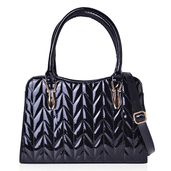Black Faux Patent Leather Chevron Quilted Structured Bag with Removable Strap (12.5x4.5x9 in)