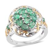 Boyaca Colombian Emerald 14K YG and Platinum Over Sterling Silver Ring (Size 7.0) TGW 2.00 cts.