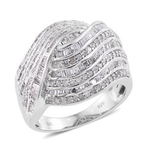 Diamond Platinum Over Sterling Silver Love Knot Ring (Size 7.0) TDiaWt 2.00 cts, TGW 2.00 cts.