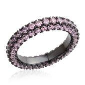 Simulated Pink Diamond Black Rhodium and Dark Silvertone Eternity Band Ring (Size 10.0) TGW 11.70 cts.
