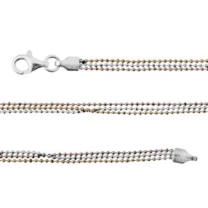 Tricolor Sterling Silver Chain (20 in)