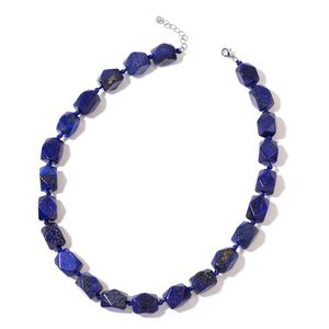 Lapis Lazuli Faceted Beads Silvertone Necklace (18-20 in) TGW 624.50 cts.
