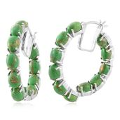 Mojave Green Turquoise Platinum Over Sterling Silver Inside Out Hoop Earrings TGW 17.80 cts.