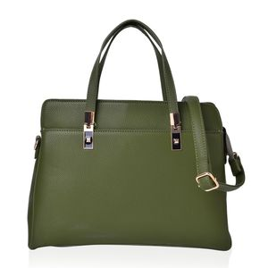Olive Green Faux Leather Handbag with Standing Studs and Removable Strap (14x5.5x10 in)