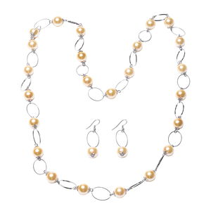 Golden Glass Pearl Silvertone Earrings and Necklace (36 in)