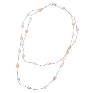 Freshwater Multi Color Pearl Silvertone Station Necklace (47 in)