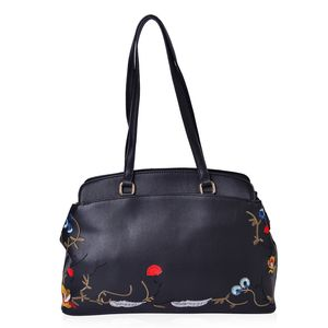 Black Faux Leather Eye-Catching Embroidery Floral Pattern Tote Bag with Standing Studs (14x4.5x9.5 in)