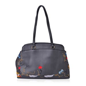 Gray Faux Leather Eye-Catching Embroidery Floral Pattern Tote Bag with Standing Studs (14x4.5x9.5 in)