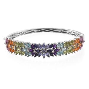 MEGA CLEARANCE Multi Gemstone Platinum Over Sterling Silver Bangle (6.75 in) TGW 10.49 cts.