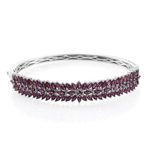 Orissa Rhodolite Garnet Platinum Over Sterling Silver Bangle (8 in) TGW 14.20 cts.