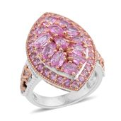 Madagascar Pink Sapphire 14K RG and Platinum Over Sterling Silver Ring (Size 7.5) TGW 4.06 cts.