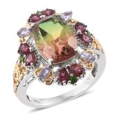 Rainbow Quartz, Multi Gemstone 14K YG and Platinum Over Sterling Silver Ring (Size 11.0) TGW 9.81 cts.