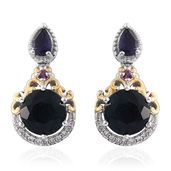 Belgian Teal Fluorite, Multi Gemstone 14K YG and Platinum Over Sterling Silver Earrings TGW 7.42 cts.