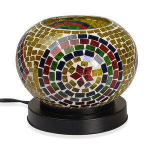 Doorbuster Handcrafted Geometric Mosaic Electric Lamp with Himalayan Salt (7 in)