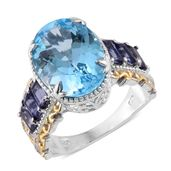 Sky Blue Topaz, Catalina Iolite 14K YG and Platinum Over Sterling Silver Ring (Size 9.0) TGW 13.75 cts.