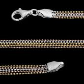 14K YRG Over and Sterling Silver Multi Strand Beaded Necklace Chain (20 in) (9.1 g)