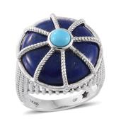 GP Lapis Lazuli, Arizona Sleeping Beauty Turquoise, Kanchanaburi Blue Sapphire Platinum Over Sterling Silver Ring (Size 10.0) TGW 24.32 cts.