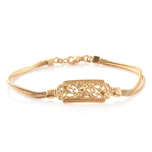 KARIS Collection - ION Plated 18K YG Brass Dragonfly Bracelet (7.50 In) Made with SWAROVSKI Yellow Crystal TGW 0.06 cts.