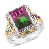 Watermelon Quartz, Multi Gemstone 14K YG and Platinum Over Sterling Silver Ring (Size 9.0) TGW 9.76 cts.