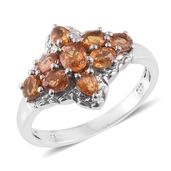 Orange Sapphire Platinum Over Sterling Silver Ring (Size 10.0) TGW 2.30 cts.