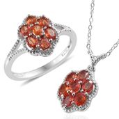 Dan's Collector 25th Anniversary Collection Orange Sapphire Platinum Over Sterling Silver Ring (Size 8) and Pendant With Chain (20 in) TGW 2.86 cts.
