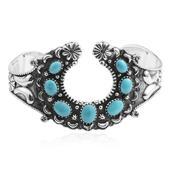 Santa Fe Style Kingman Turquoise Sterling Silver Cuff (7.00 In) TGW 4.97 cts.