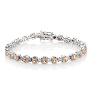 Imperial Topaz, White Topaz Platinum Over Sterling Silver Bracelet (7.50 In) TGW 9.66 cts.