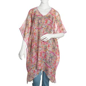 Pink Swirl Floral Digital Printed 100% Natural Mulberry Silk V-Neck Poncho with Sequins Outline (One Size)