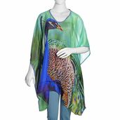 Seafoam Digital Printed Peacock 100% Natural Mulberry Silk V-Neck Poncho with Blue Sequins Outline (One Size)