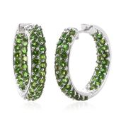 Russian Diopside Platinum Over Sterling Silver Inside Out Hoop Earrings TGW 6.02 cts.
