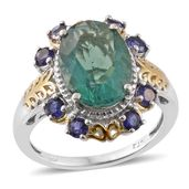 Belgian Teal Fluorite, Catalina Iolite 14K YG and Platinum Over Sterling Silver Ring (Size 7.0) TGW 7.53 cts.