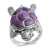 Santa Fe Style Mojave Purple Turquoise Sterling Silver Turtle Ring (Size 7.0) TGW 2.50 cts.