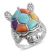 Santa Fe Style Multi Turquoise Sterling Silver Turtle Ring (Size 7.0) TGW 2.50 cts.