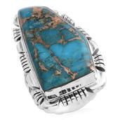 Santa Fe Style Mojave Blue Turquoise Sterling Silver Large Fancy Ring (Size 9.0) TGW 2.50 cts.