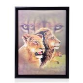 Lion Couple Printed 4D Painting (16.3x12.4 in)