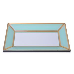 Aqua and Gold Rim Glass Tray (11x6.5x1.5 in)