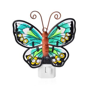 Green Butterfly Iron and Stained Glass Night Lamp (5x5 in)