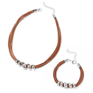 Beige Faux Leather Cord Stainless Steel Bracelet (7 in) and Necklace (16.00 In)