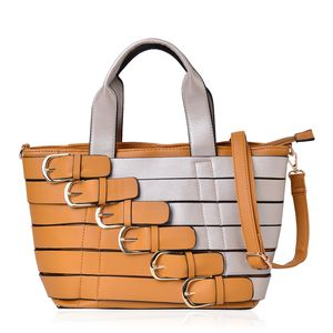 Mustard and Silver Faux Leather Buckle Belt Tote with Removeable Shoulder Strap (48in) and Standing Studs(11x6x9 in)