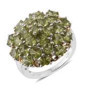 Hebei Peridot 14K YG and Platinum Over Sterling Silver Cluster Ring (Size 5.0) TGW 9.10 cts.
