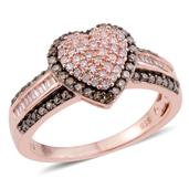 Natural Champagne and Pink Diamond Black Rhodium, 14K RG Over Sterling Silver Heart Ring (Size 9.0) TDiaWt 0.72 cts, TGW 0.72 cts.