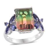 Rainbow Genesis Quartz, Catalina Iolite Platinum Over Sterling Silver Ring (Size 7.0) TGW 10.49 cts.