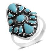 Santa Fe Style Turquoise Sterling Silver Ring (Size 11.0) TGW 4.90 cts.